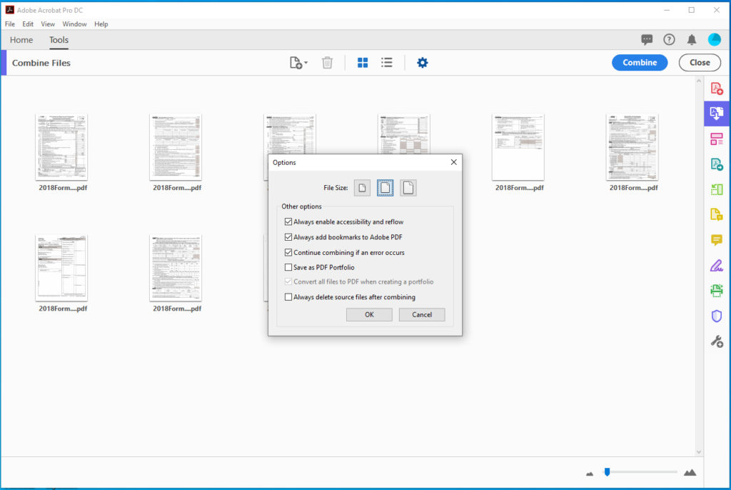 Adobe Acrobat settings for creating merged pdf document from more than one pdf file.